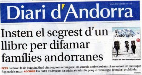 Diari d'Andorra dedica su portada al último libro de Joaquín Abad